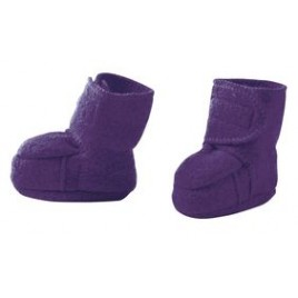 Disana Boiled Wool Booties plum