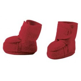 Disana Boiled Wool Booties Bordeaux