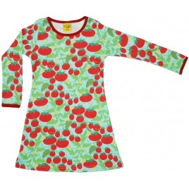 Duns Long Sleeve Dress Gathered Tomatoes Turquoise   tot maat 92