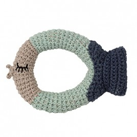 Hoppa Crochet Rattle Fish blue