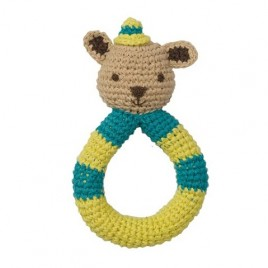 Hoppa Crochet Rattle Squirrel blue/green