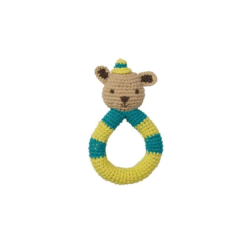 Hoppa Crochet Rattle Squirrel blue/green