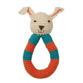 Hoppa Crochet Rattle Rabbit blue/red