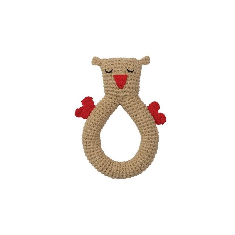 Hoppa Crochet Rattle Owl écru