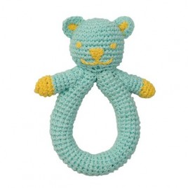 Hoppa Crochet Rattle Bear blue