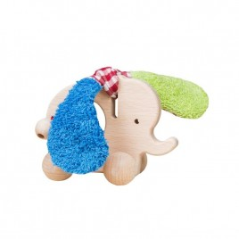 Efie Holz Elefant mit Rollen grün/blau