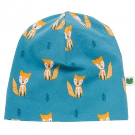 Green Cotton Fox Beanie teal