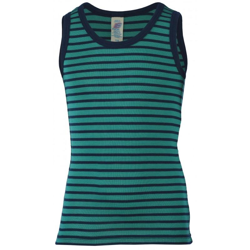 Engel Children's shirt sleeveless, fine rib ice-blue/navy-blue