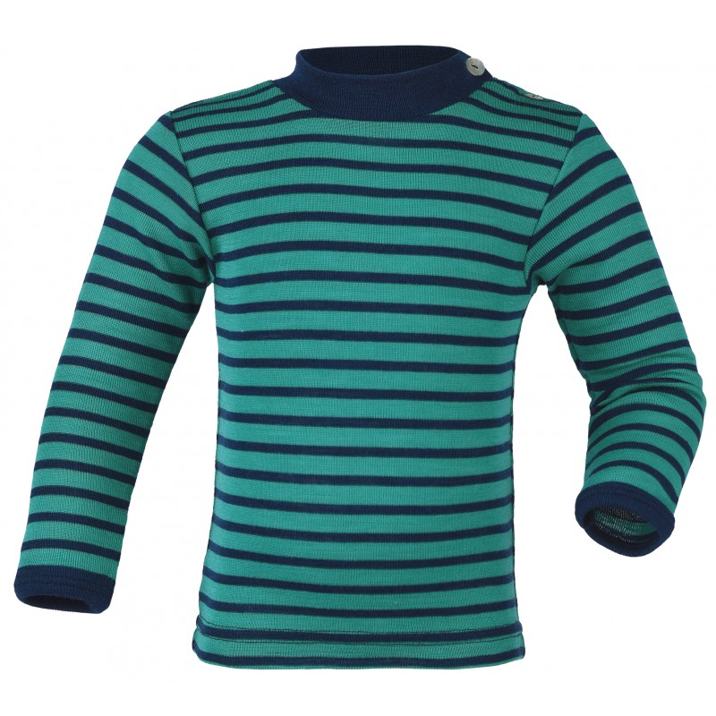 Engel Baby-Shirt long sleeved, with pearl buttons on the shoulder ice-blue/navy-blue