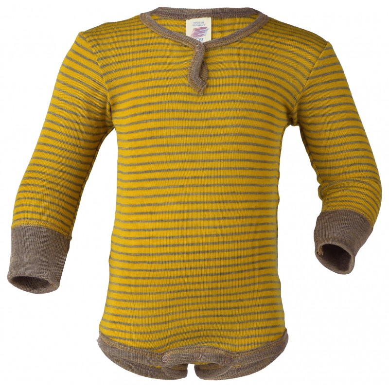 Engel Baby-Body long sleeved with press-stud Saffron/walnut