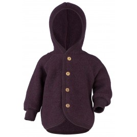 Engel Hooded Jacket with Wooden Buttons Lilac melange