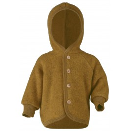 Engel Hooded Jacket with Wooden Buttons Saffron melange