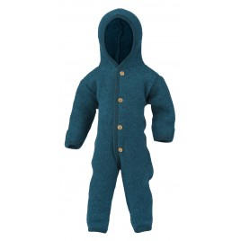 Engel  Hoooded Overall with Wooden Buttons Petrol  Melange