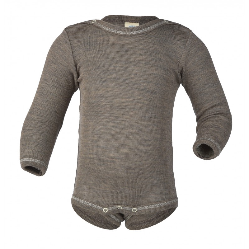 Engel Baby-Body Long Sleeved, with Press-Studs Walnut