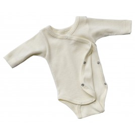 Engel Baby-body logn sleeved, with press-studs on the side, fine rib natural