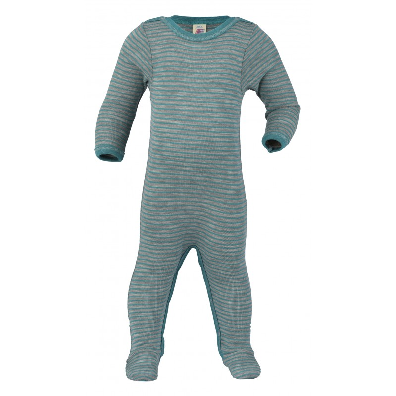 Engel Sleep Overall, with press-studs at the leg and crotch, fine rib light grey mélange/ice b