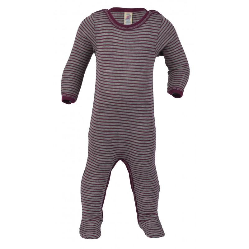 Engel Sleep Overall, with press-studs at the leg and crotch, fine rib light grey mélange/orchi