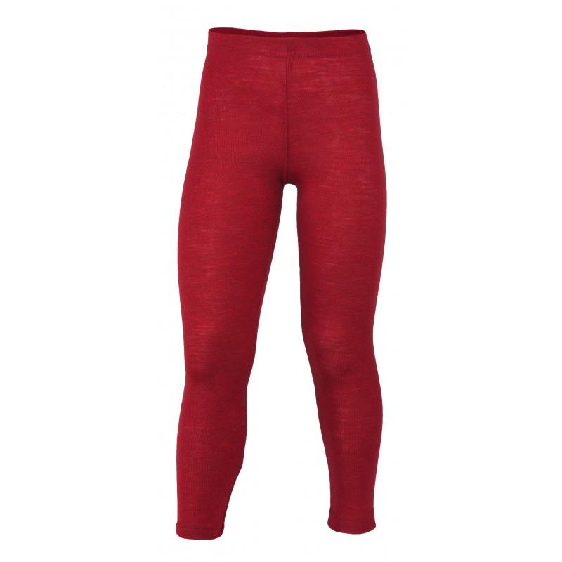 Engel Children's leggings, fine rib cherry-red