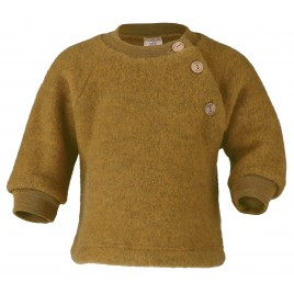 Engel Raglan Sweater with wooden buttons Saffron melange