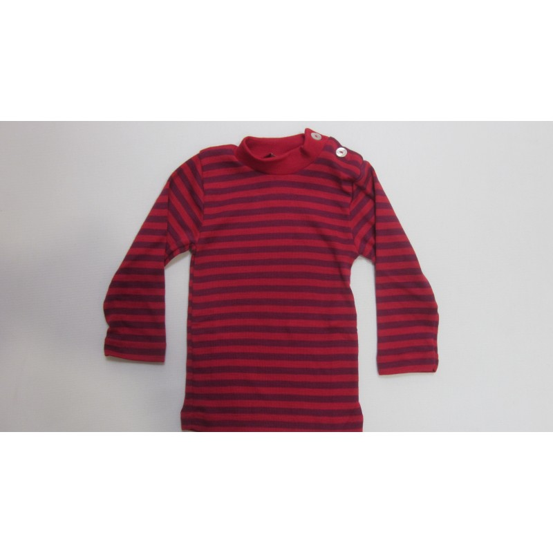Engel Baby-Shirt Long Sleeved with mother-of-pearl button Cherry-Red/Orchid