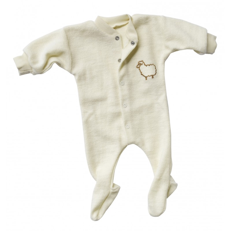 Engel One-piece pyjama with feeth, with 'little sheep', frottee natural