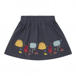 Sense Organics Malia Skirt Navy Tree Hedgehog
