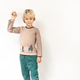 Sense Organics Malthe Shirt L/S Cinder Grey Forest Print