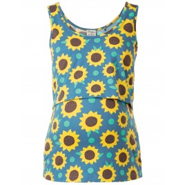 Lowen Vest steely blue sunflowers