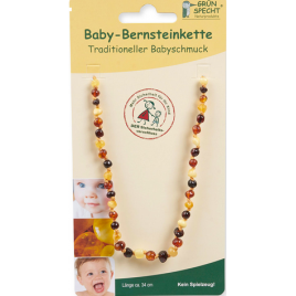Grün Specht Baby Amber Necklace Chip Multi