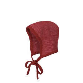 Disana Knitted Bonnet bordeaux-rosé