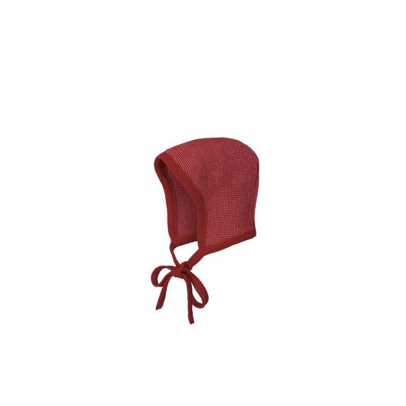 Disana Knitted Bonnet bordeaux-rosé