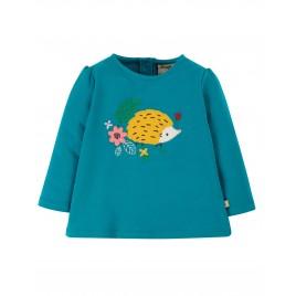 Frugi Little Alana Applique Top Tobermory Teal/Hedgehog