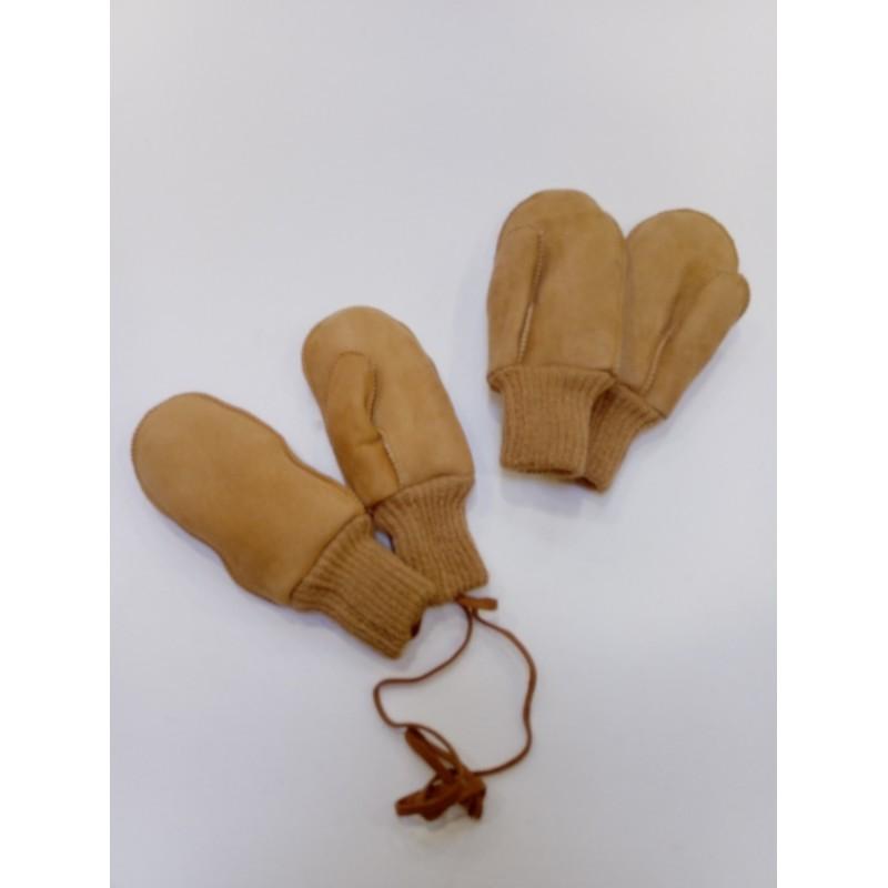 Naturfellparadise Kinderhandschuh mit strickbund und Schnur