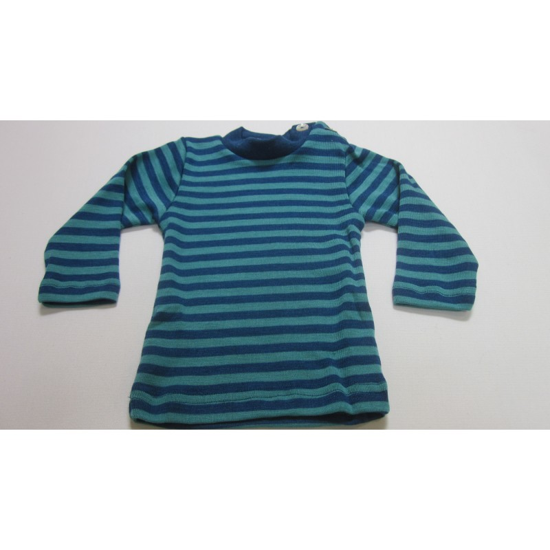 Engel Baby-Shirt Long Sleeved with mother-of-pearl button Light Ocean/Ice Blue