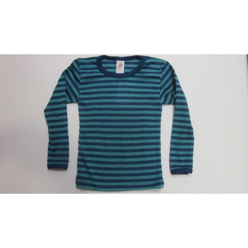 Engel Children's vest long sleeved, fine rib light ocean/ice blue