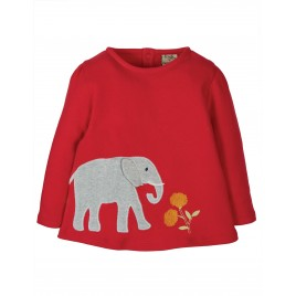 Frugi Connie Applique Top True Red/Elephant