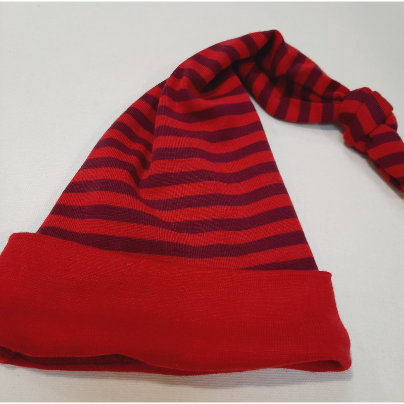 Engel Long stocking hat, fine rib cherry-red/orchid