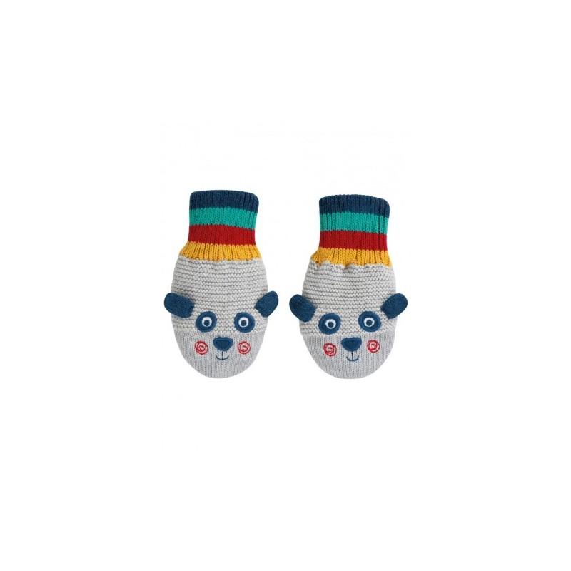 Frugi Merry Knitted Mittens Panda