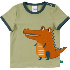 Green Cotton Hello crocodile s/s T moss