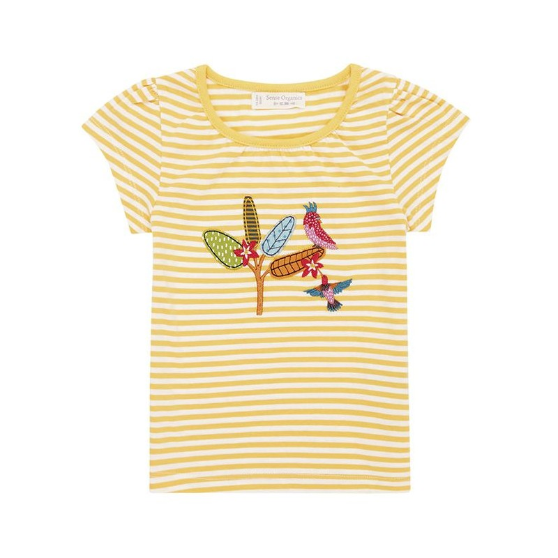 Sense Organics Gada Shirt S/S Yellow Stripes + Bird Ap