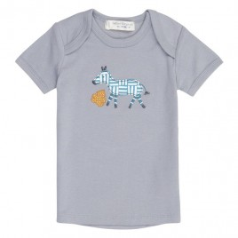 Sense Organics Tilly Retro Baby Shirt S/S Dusty Blue + Zebra