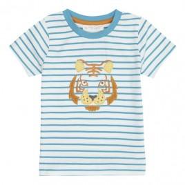 Sense Organics Ibon Shirt S/S Turquoise Stripes + Tige