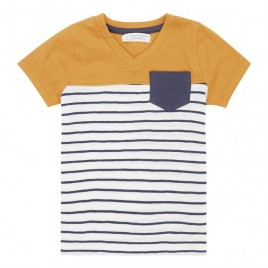 Sense Organics Salvo Shirt S/S navy stripes + orange