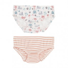 Sense Organics Paris Retro Slips 2 pack Palm Tree + Coral Stripe