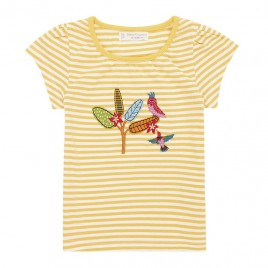 Sense Organics Gada Baby Shirt S/S Yellow Stripes + Bird Ap