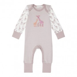 Sense Organics Wayan Baby Romper Mauve Stripes +  Giraffe