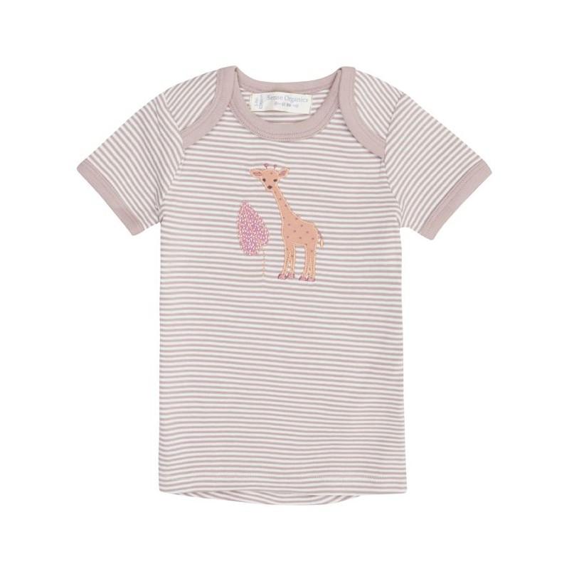 Sense Organics Tilly Baby Shirt S/S Mauve Stripes + Giraffe