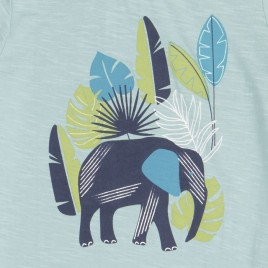 Sense Organics Ibon Shirt S/S light teal + elephant