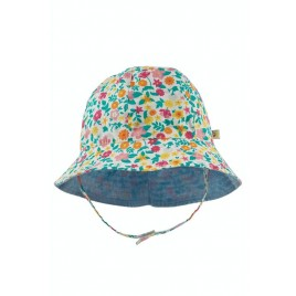 Frugi Chambray Reversible hat Soft White Flowers