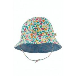 Frugi Chambray Reversible hat Rainbow Dinos